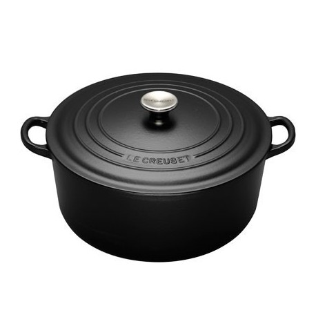 cocotte ronde en fonte noire 28 cm le creuset vie de chateaux. Black Bedroom Furniture Sets. Home Design Ideas