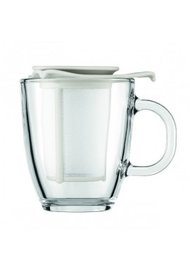 Set mug en verre avec filtre en nylon blanc BODUM