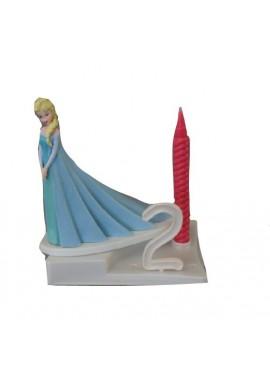 Bougie d'Anniversaire la Reine des neiges ELSA sur socle à chiffres modulables Disney