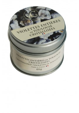 Boite en métal de violettes entières de Toulouse cristallisées 65 gr  - viedechateaux.fr