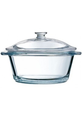 transparent round glass casserole