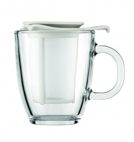 Set mug en verre avec filtre en nylon blanc