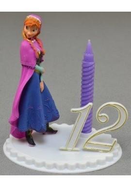 Bougie d'Anniversaire la Reine des neiges ANNA sur socle à chiffres modulables Disney