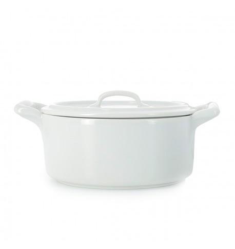 cocotte en porcelaine blanche avec couvercle
