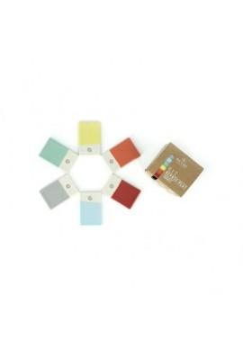 kit repose plat 6 planches colorées en porcelaine