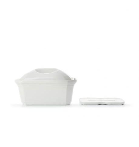 terrine pâté rectangulaire porcelaine blanche : couvercle et presse