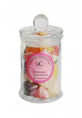 Bonbons à l'Ancienne en bonbonnière de verre - Berlingot aux fruits