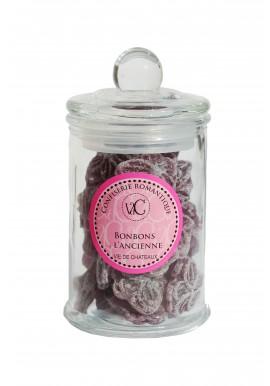 Bonbons à l'Ancienne en bonbonnière de verre -Violette