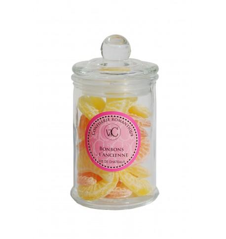 Bonbons à l'Ancienne en bonbonnière de verre -Oranges Citrons