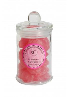 Bonbons à l'Ancienne en bonbonnière de verre -Rose