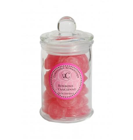 Bonbons à l'Ancienne en bonbonnière de verre - Rose