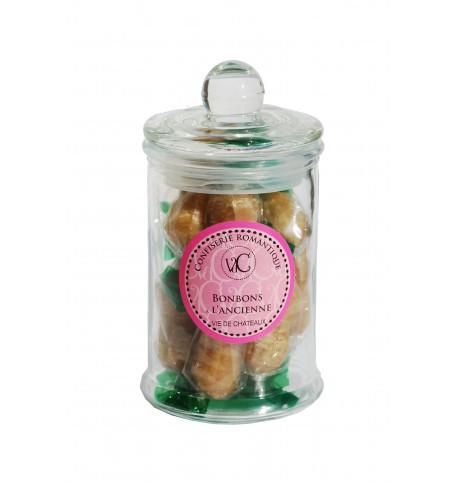 Bonbons à l'Ancienne en bonbonnière de verre -Cacahuètes fourrées