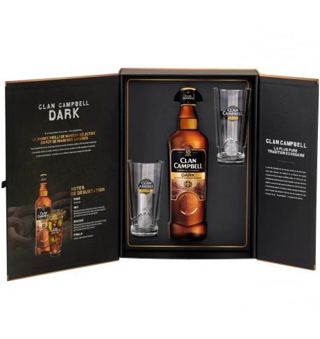 Coffret Clan campbell dark scotch whisky 0.7 L + 2 verres