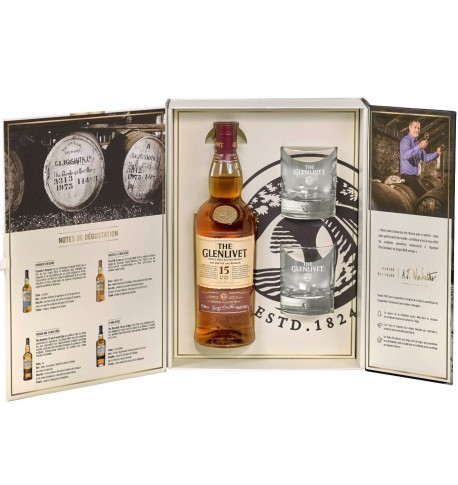 Coffret the glenlivet 15 ans d'âge OAK FINISH  0.7L + 2 verres